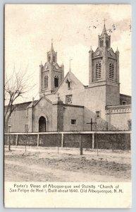 Old Albuquerque NM~Church of San Felipe de Neri~Porter's Views~c1908 Rotograph