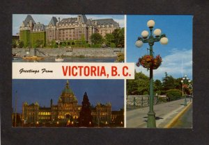 BC Greetings From Victoria British Columbia Empress Hotel Carte Postale Postcard