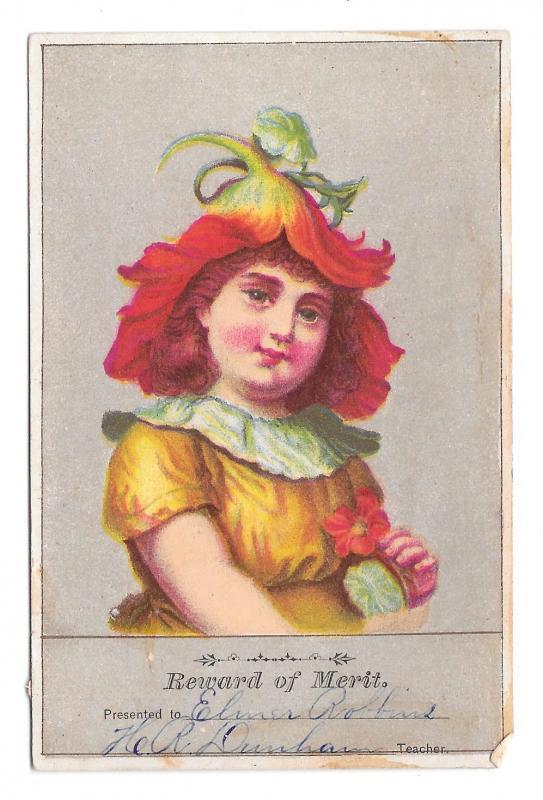 Antique Victorian Reward of Merit Card Girl Flower Hat Teacher School Student