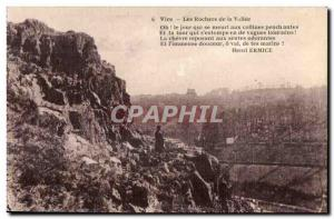 Old Postcard Vire Les Rochers de la Vallee Oh! the dying day to the hills pen...