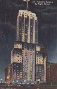 Illinois Chicago Palmolive Building By Night Curteich