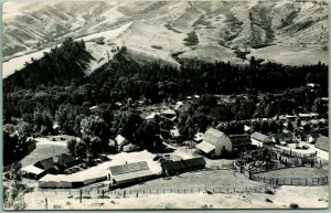 Vintage WOLF, Wyoming RPPC Real Photo Postcard EATON'S RANCH Aerial View 1940s