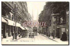 Bordeaux - Rue Vital Carles - automotive - tram - classic cars - Old Postcard