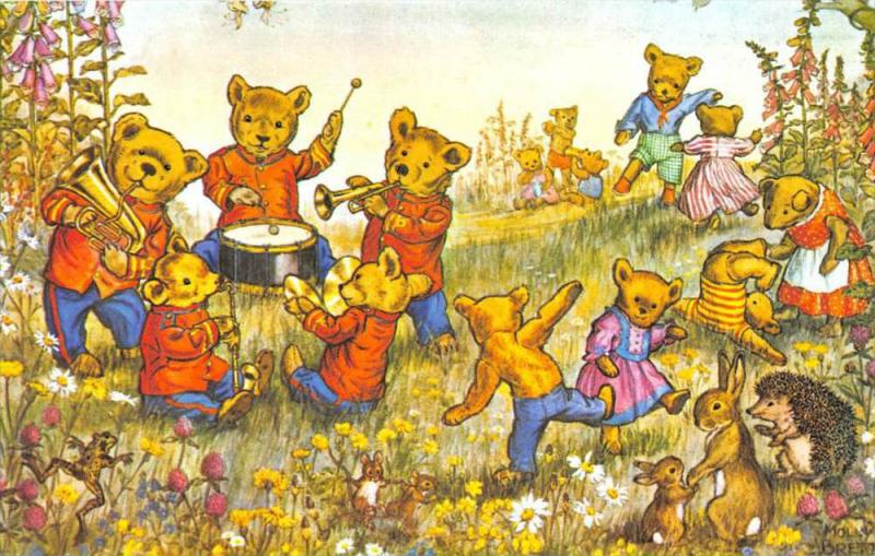 Molly Brett Teddy Bears dancing and playing instruments