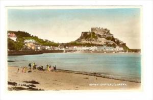 RP  Gorey Castle from beach , Jersey , UK, 20-40s