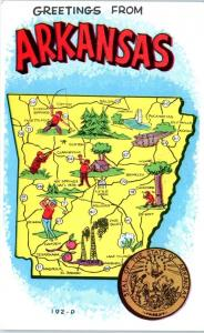 ARKANSAS  PICTORIAL  MAP   Postcard  Circa 1950s or 60s State Seal