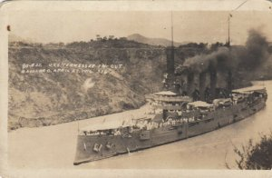RP; PANAMA CANAL , 1916 ; U.S.S. TENNESSEE in Cut Gallard