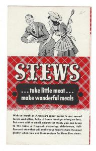 WWII Stews Meat Rationing Vintage Recipe Leaflet Armour Co