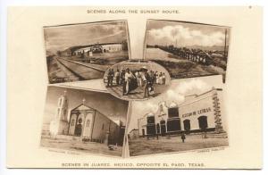 Multi  Views of Juarez Mexico Opposite El Paso TX Railroad Albertype Postcard