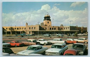 Postcard TX El Paso International Airport c1950s Old Cars C6