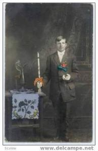 Hand Colored RP: Boy Holding Catholic Rosary, 1900-10s