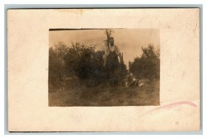 Vintage 1900's RPPC Postcard Man with Hunting Rifle and Dog in Fields