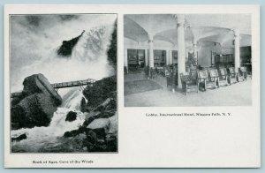 Niagara Falls NY~SHARP Split View~Bridge @ Rock of Ages~Int'l Hotel Lobby c1905