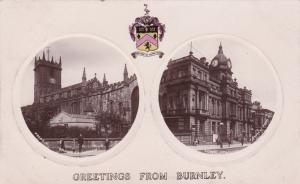 RP: BURNLEY , Lancashire , England , Uk , 1908 : Town Hall & Parish Church