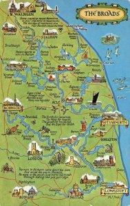 The Broads Map Postcard Norfolk Norwich, Great Yarmouth, Lowestoft, Wroxham AZ8