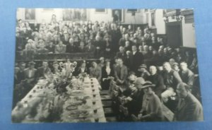 Vintage Real Photo Postcard Celebratory Dinner Group Shot Unknown Location F1B