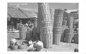 Oaxaca Tipico Baskets Mexico RPPC Market Scene 1952 Vintage Postcard