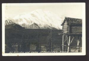 RPPC MCKINLEY PARK ALASKA MT. MCKINLEY LOG CABIN LOOKOUT REAL PHOTO POSTCARD