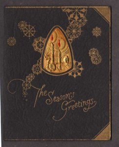 Christmas Greetings Card Black and Gold Candles (Not a postcard) Howard Whitten