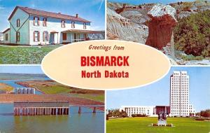 Bismarck North Dakota~Banner Greetings~Garrison Dam~Petrified Forest~1960s PC