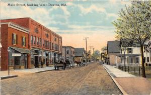 F5/ Denton Maryland Postcard 1914 Main Street West Store Post Cards Wagon