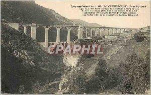 Old Postcard Eastern Pyrenees Fontpedrousse Sejourne bridge railway line elec...