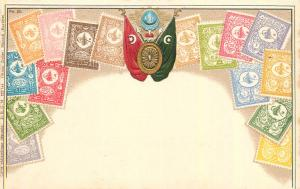 Stamps of Turkey coat of arms by Ottmar Zieher chromo litho postcard