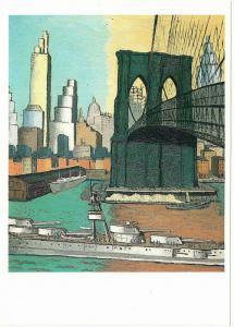Bridge Tower by Glenn Coleman American Art Brooklyn Bridge & Navy Ship Postcard