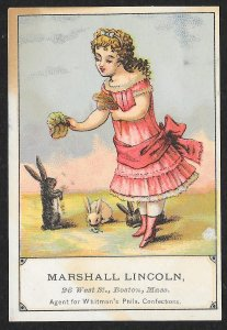 VICTORIAN TRADE CARDS (3) Marshall Lincoln Confections Girls & Animals