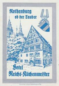GERMANY ROTHENBURG HOTEL REICHS KUECHENMEISTER VINTAGE LUGGAGE LABEL