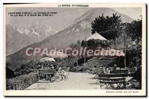 Old Postcard Savoy Picturesque Saint Bon Terrace of Hotel Blue Lake and the g...
