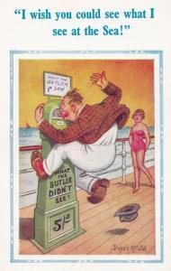 What The Butler Saw Didnt See Seaside Machine Rude Comic Humour Postcard