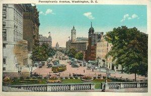 Pennsylvania Ave Washingtonn DC US Capitol Treasury Steps Trolley Car Postcard
