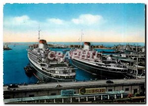 Modern Postcard Genova Transatlantic Steamers in the Port