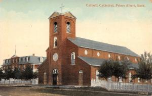 Prince Albert SK Door Open to Catholic Cathedral~Bldg w/Mansard Roof Behind 1910