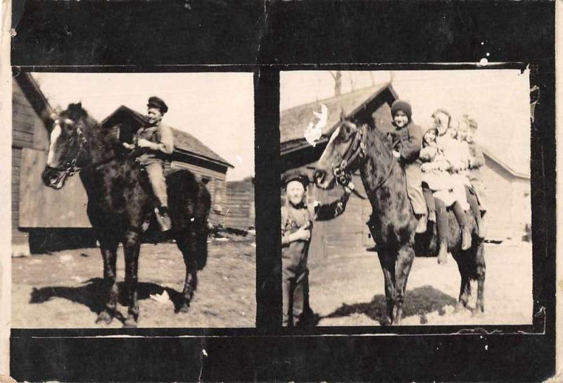 Lake Crystal Minnesota Children Riding Horses Real Photo Postcard JE229397