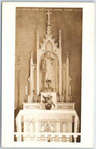 Tipton, Iowa RPPC Postcard St. Mary's Catholic Church Altar View - IM Lane Photo