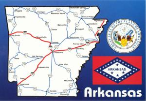 Postcard of Arkansas State and Highway Map #1 with Flag and Seal