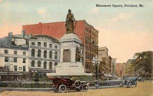 LPS66 Portland Maine Monument Square Town View Vintage Postcard