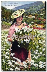 Old Postcard Picking Flowers Cote d & # 39Azur