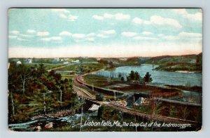 Lisbon Falls ME, Deep Cut Of Androscoggin, Vintage Maine c1913 Postcard
