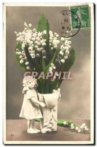 Old Postcard Fantasy Flowers Lily of the Valley Children Santon