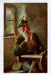 285372 After HUNT alpine hunter smoking Pipe in Bar Vintage postcard