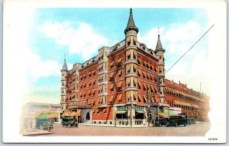 Boise Idaho Postcard THE IDAN-HA HOTEL Downtown Street View Curteich Linen 1940s