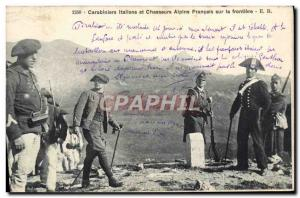 Old Postcard Customs Customs Italian Carabinieri and French Alpine troops on ...