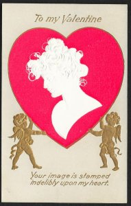To My Valentine Silhouette of Lady On Heart & Cupids Used c1907