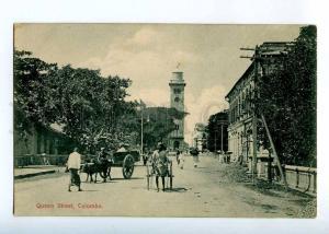 227103 CEYLON COLOMBO Queen Street rickshaw Vintage postcard