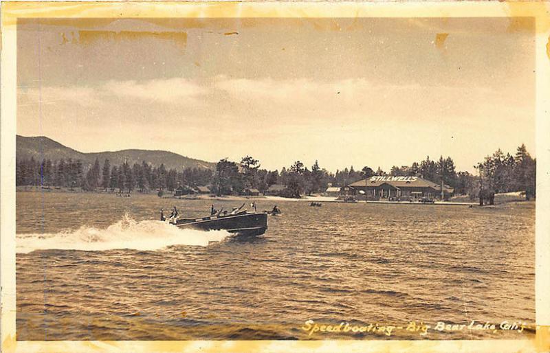 Big Bear Lake CA Speed Boating at Stillwells RPPC Postcard