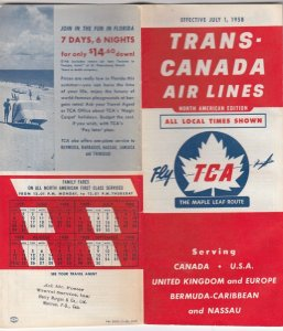 Trans-Canada Air Lines Route Boolet of Flights , North America Edition , 1958