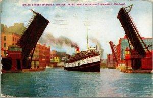 Vtg Postcard State Street Bascule Bridge Chicago Illinois Steamship Draw Bridge